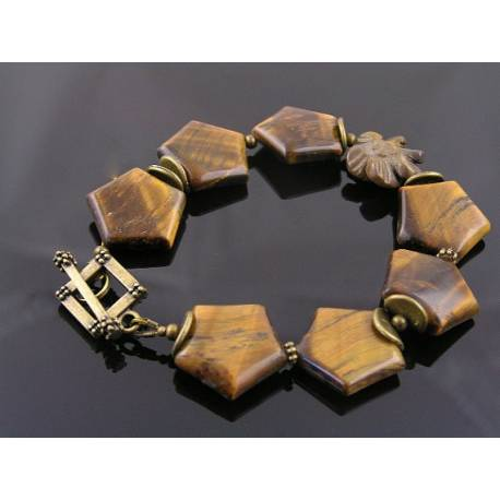 Tiger's Eye Bracelet with Carved Mookaite Flower