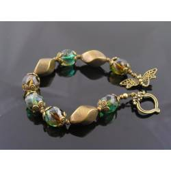 Dragonfly Bracelet with Czech Glass Beads