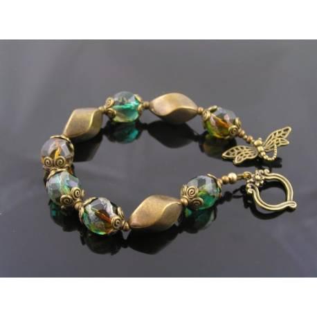 Dragonfly Bracelet with Czech Glass Beads