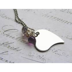 Heart Necklace with Moss Amethyst Gemstones