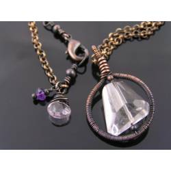 Large Rock Crystal Wire Wrapped Pendant Necklace