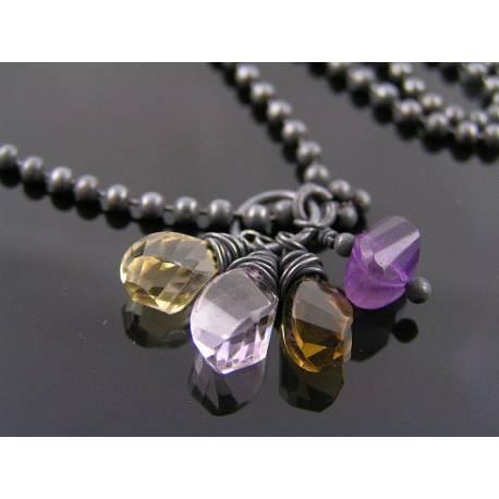 Gemstone Charm Necklace with Champagne Citrine, Amethyst, Beer Quartz