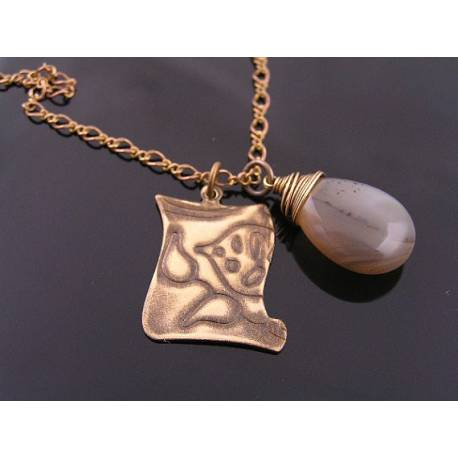 Large Gray Agate Drop and Etched Tag Pendant Necklace
