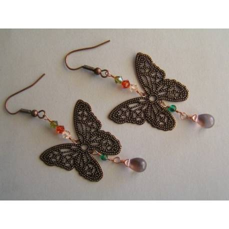Filigree Butterfly Earrings with Swarovski Crystals