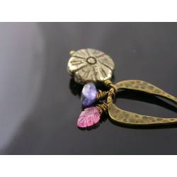 Pyrite Flower, Iolite and Pink Sapphire Necklace