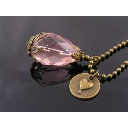 Heart Charm and Large Champagne Pink Faceted Drop Necklace
