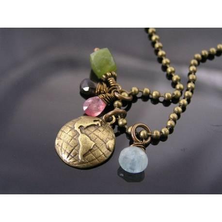 Globe, Vesuvianite, Tourmaline and Aquamarine Charm Necklace