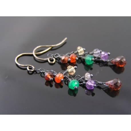 Gemstone Cluster Sterling Silver Earrings