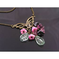 Butterfly Flower Necklace, Czech Beads