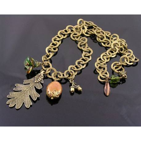 Forest Charm Necklace, Large Chain with Oak Leaf Charm, Czech Glass Beads