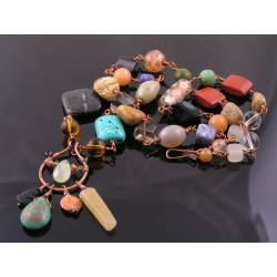 Bohemian Necklace with Glass and Gemstone Beads