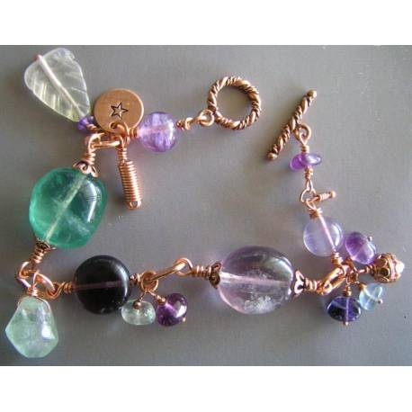 Hand Wire Wrapped Fluorite Bracelet
