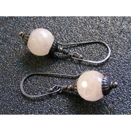 Pink Lanterns - Oxidised Copper Earrings