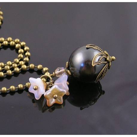 Dark Gray Colored Shell Pearl with Cream Flower Charm