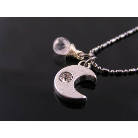 Crystal Set Crescent Moon Necklace