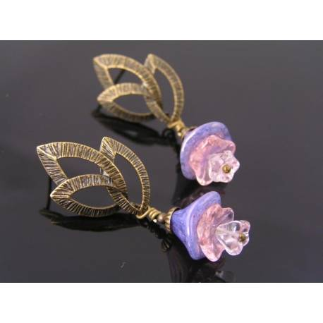 Leaf Ear Studs with Purple Flowers
