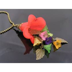 Large Bright Red Lucite Flower and Leaves Necklace