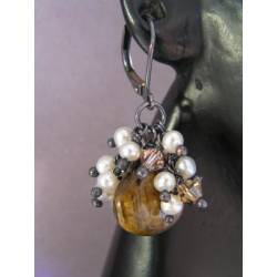 Tiger's Eye with Pearl and Crystal Fringe Earrings