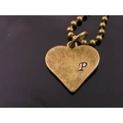 Heart Initial Necklace, Hand Stamped Heart Pendant