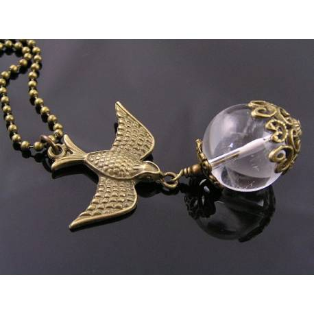 Bird Necklace with Large Rock Quartz Crystal Ball