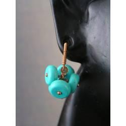 Turquoise Howlite Pom Pom Earrings