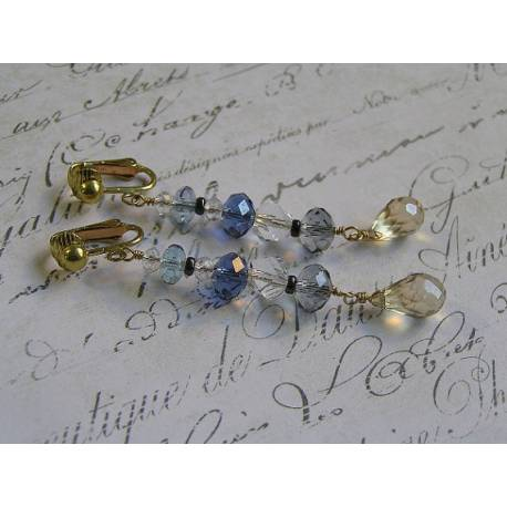 Clip-on Crystal Earrings, Solid Golden Brass