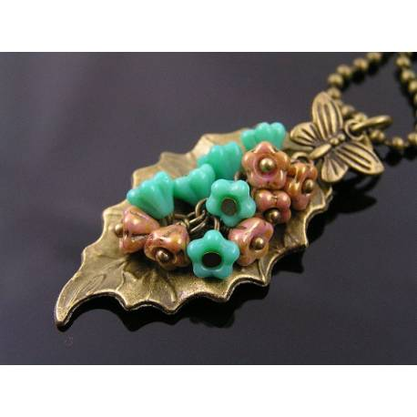 Turquoise and Pink Flowers with Leaf Pendant Necklace