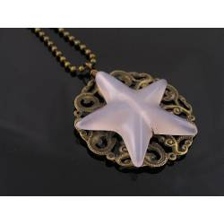 Carved Grey Agate Star Filigree Necklace
