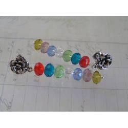 Long Crystal Stackers - Rose Stud Earrings