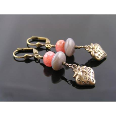 Rodochrosite and Grey Agate Strawberry Earrings