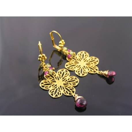 Golden Filigree Earrings with Rhodolite Garnet and Peridot