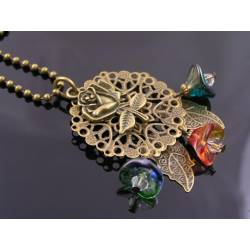 Filigree Leaf and Czech Flower Necklace