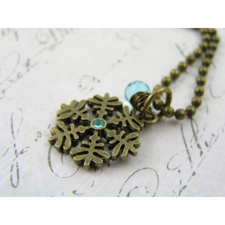 Snowflake Necklace with Blue Cubic Zirconia