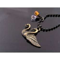 Swan Necklace with Citrine and Lavender Quartz