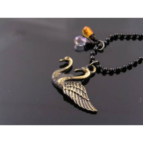 Golden Swan, Citrine and Lavender Quartz Necklace