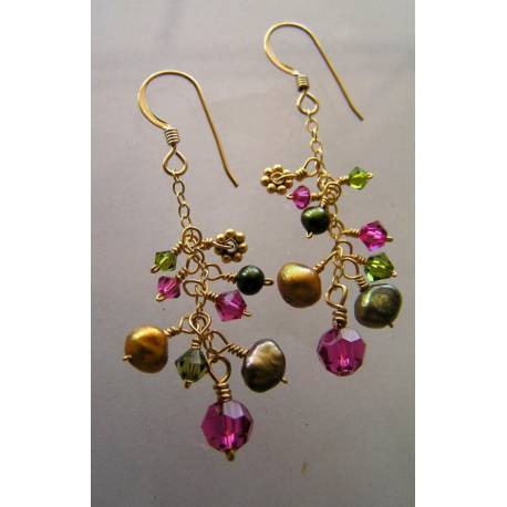 Bold Pearl and Crystal Gold Earrings