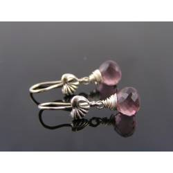 Cute Mauve Quartz Sterling Silver Heart Earrings