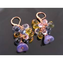 Czech Flower and Drop Earrings
