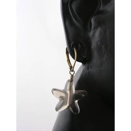 Smokey Quartz Star Earrings