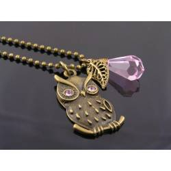 Pink Crystal Set Owl Pendant Necklace
