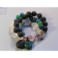 Huge Bracelet with Chrysocolla, Lava Rock and Rock Quartz