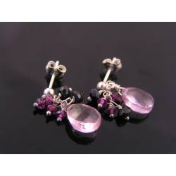 Pink Grapefruit Quartz, Rhodolite Garnet and Black Spinel Sterling Ear Studs