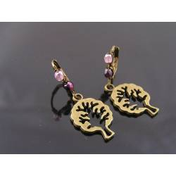 Cute Tree of Life Earrings with Wire Wrapped Pink and Purple Bead Ear Wires