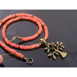 Orange Jade and Tree of Life Necklace