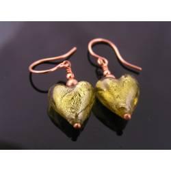 Olive Lampwork Heart Earrings