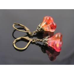 Fire Opal Czech Flower Earrings