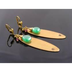 Long Golden Lozenge Mystic Onyx and Garnet Earrings