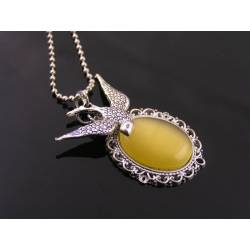 Honey Yellow Cats Eye Filigree Pendant with Bird Charm Necklace