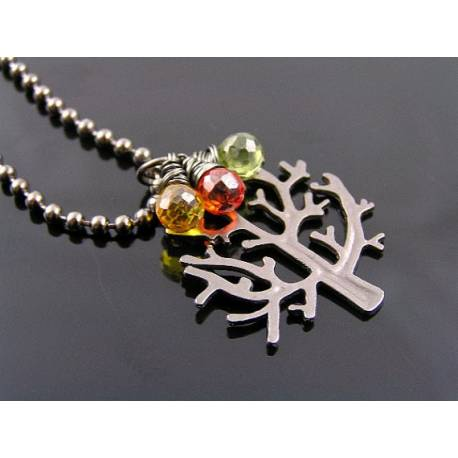 Gunmetal Tree of Life Gemstone Necklace