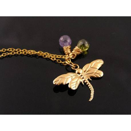 Dragonfly, Purple and Olive Gemstone Necklace